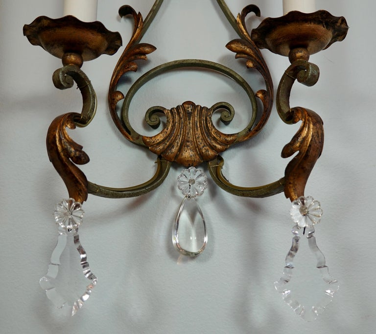 Pair of French Wrought Iron and Tole Sconces with Crystals For Sale 5