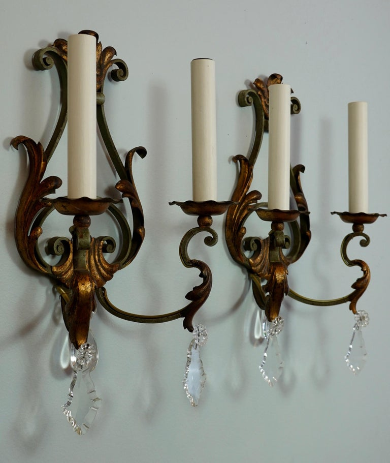 Pair of French Wrought Iron and Tole Sconces with Crystals In Good Condition For Sale In Charleston, SC