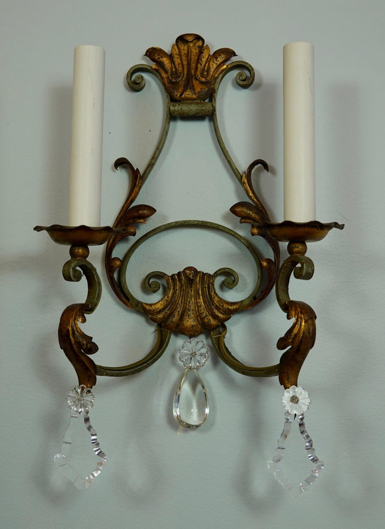 20th Century Pair of French Wrought Iron and Tole Sconces with Crystals For Sale
