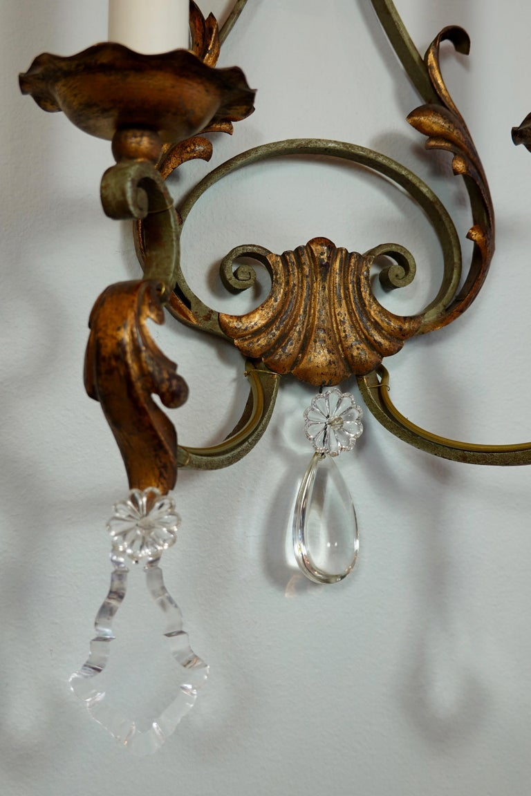 Pair of French Wrought Iron and Tole Sconces with Crystals For Sale 4