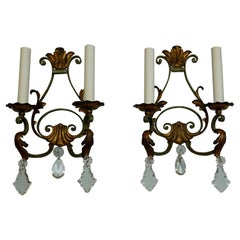 Pair of French Wrought Iron and Tole Sconces with Crystals