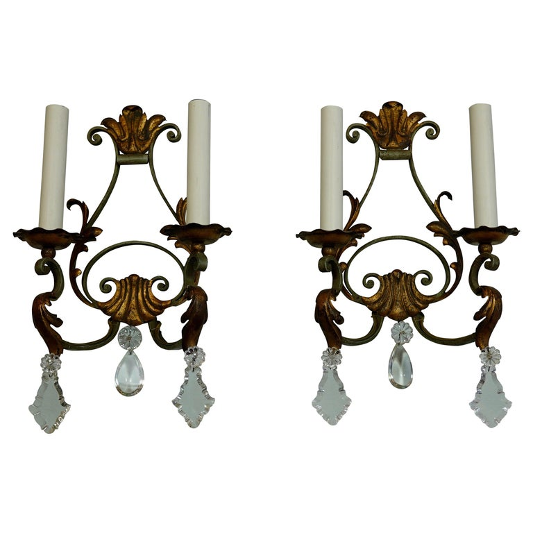 Pair of French Wrought Iron and Tole Sconces with Crystals For Sale