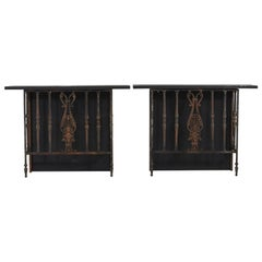 Pair of French Wrought Iron Balcony Railings Transformed into Custom Consoles