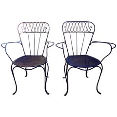 Pair of French Wrought Iron Garden Chairs, circa 1940