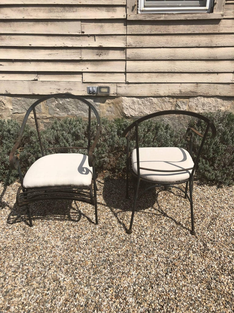 Pair of French Wrought Iron Garden Lounge Chairs In Good Condition For Sale In Woodbury, CT