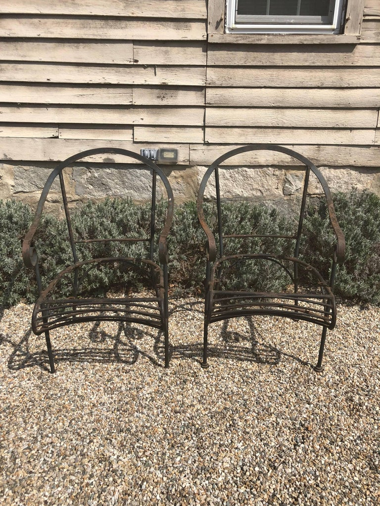 Pair of French Wrought Iron Garden Lounge Chairs For Sale 1