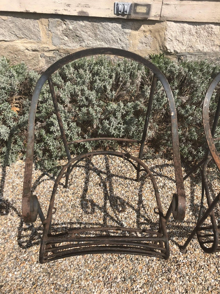 Pair of French Wrought Iron Garden Lounge Chairs For Sale 2