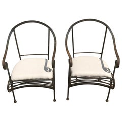 Pair of French Wrought Iron Garden Lounge Chairs