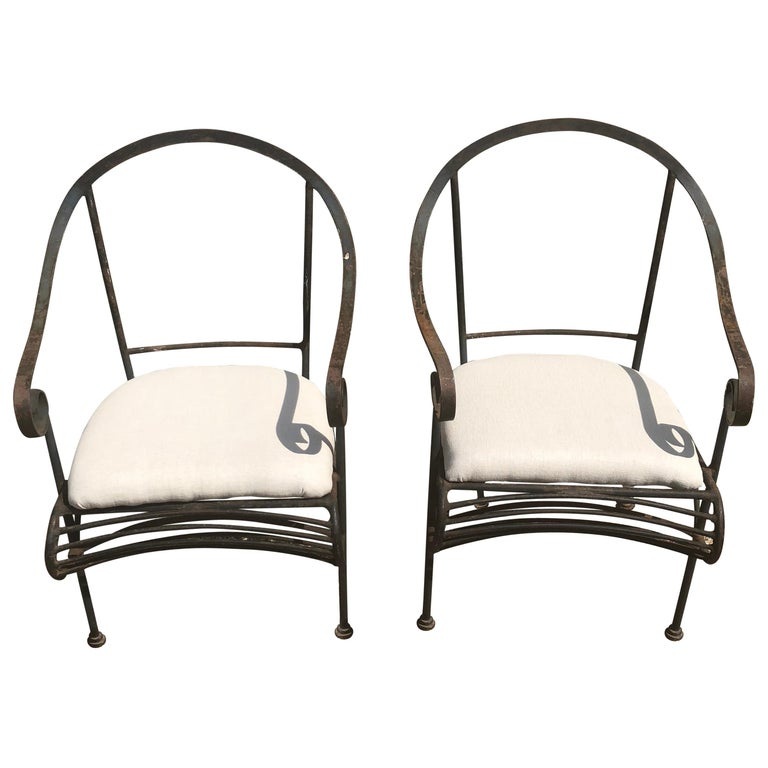 Pair of French Wrought Iron Garden Lounge Chairs For Sale