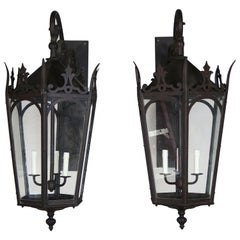 Pair of French Wrought Iron Gothic Style Lantern Sconces