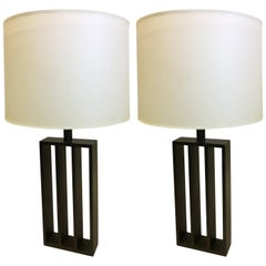 Pair of French Wrought Iron Minimalist Table Lamps in Style of Jacques Quinet