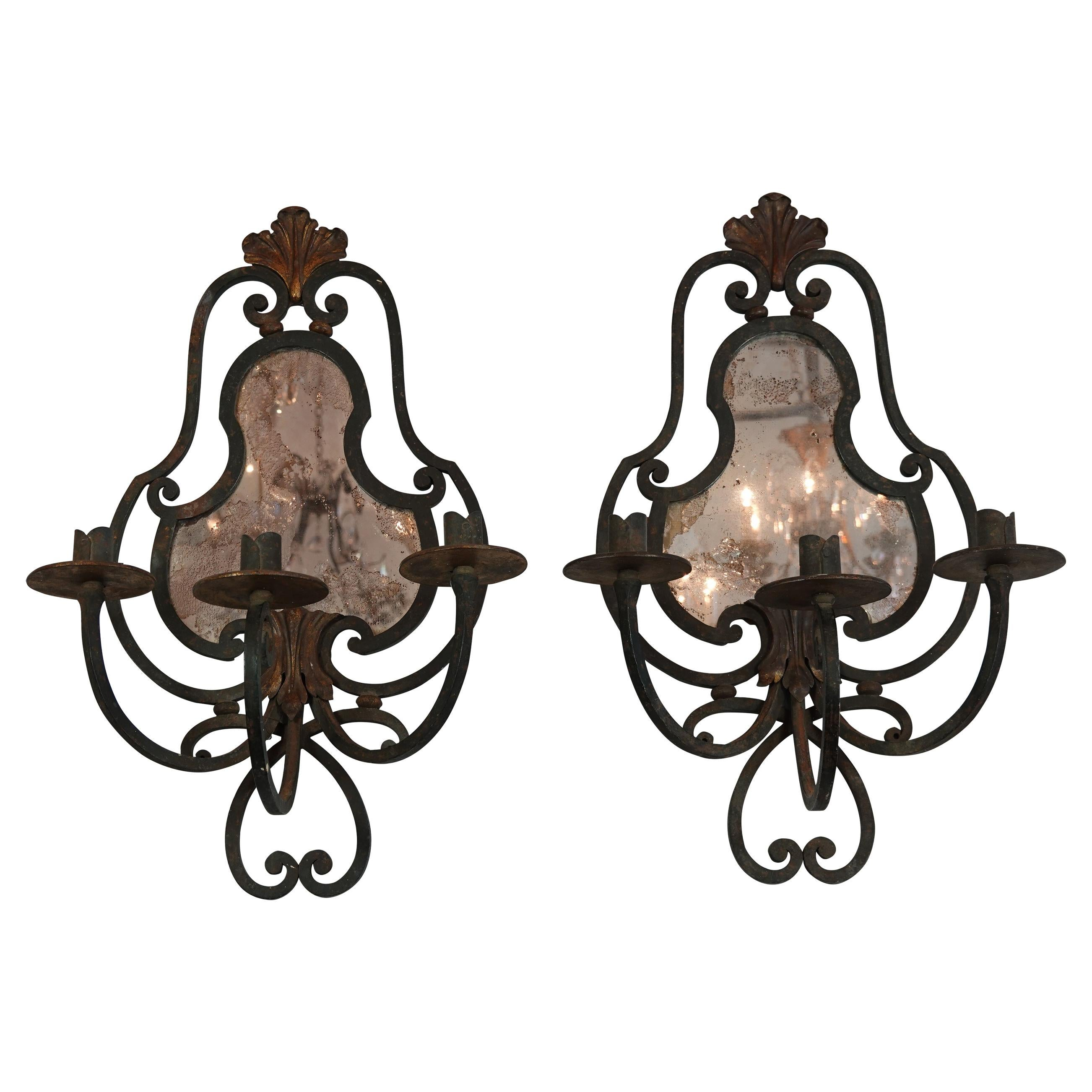 Pair of French Wrought Iron Sconces with Mirrored Backs '2 Pairs Available'