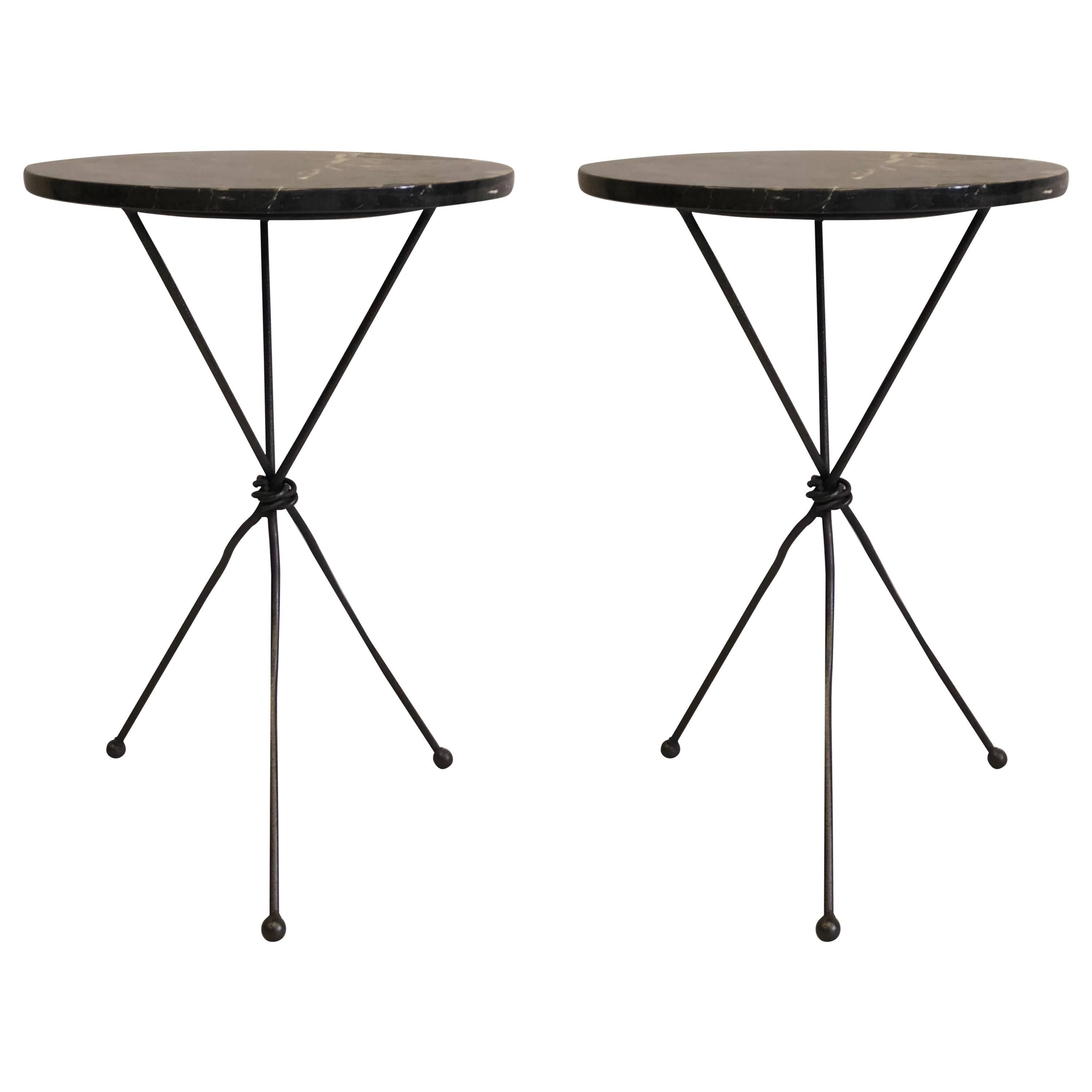 Pair Of French Wrought Iron Side Table Giacometti For Jean Michel Frank For  Sale At 1stdibs