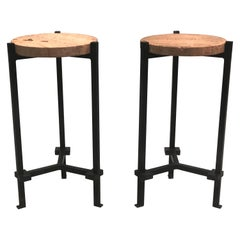 Pair of French Wrought Iron Side Tables, Marc Du Plantier Stone and Crystal Tops