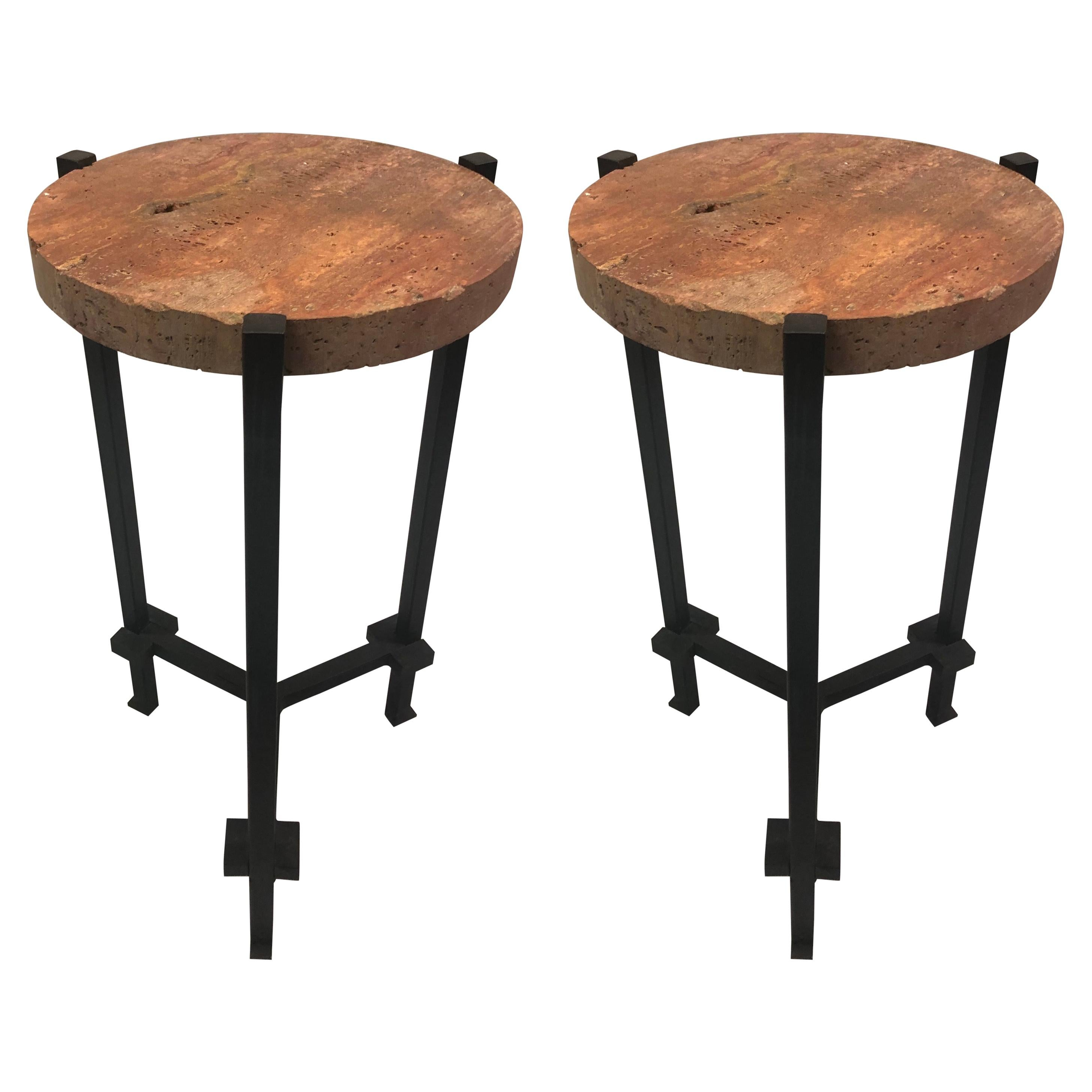 Pair of French Wrought Iron, Travertine & Crystal Side Tables, Marc du Plantier