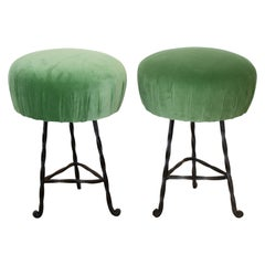 Pair of French Wrought Iron Twisted Stools