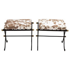 Pair of French Wrought Iron Upholstered Benches
