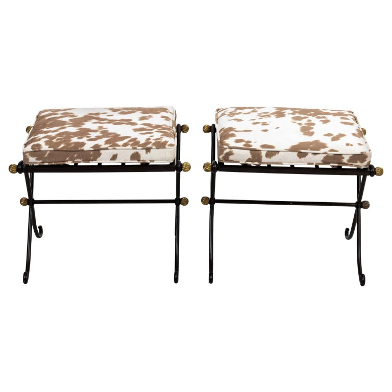 Pair of French Wrought Iron Upholstered Benches For Sale