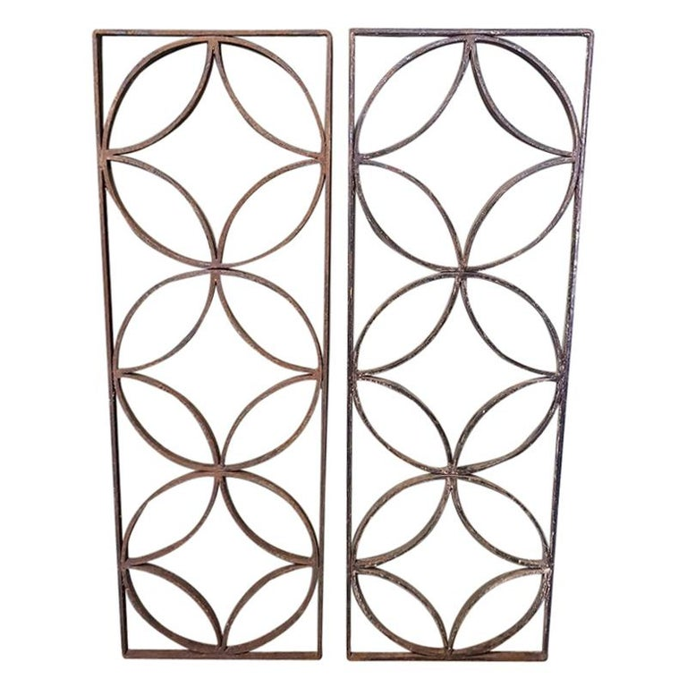 Pair of French Wrought Iron Vintage Door Grilles For Sale