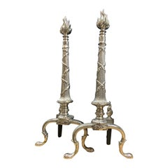 Pair of French X-Andirons with Flame Head