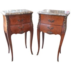 Pair of French XIX, Louis XV Nightstands with Marble Tops and Ormolu Mountings