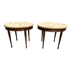 Pair of French Side Table or Accent Table Solid Mahogany Marble Top 1910s
