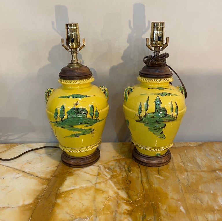 Pair of French Yellow and Green Vases Mounted as Lamps In Good Condition For Sale In Charleston, SC