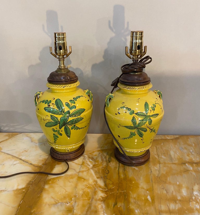 20th Century Pair of French Yellow and Green Vases Mounted as Lamps For Sale