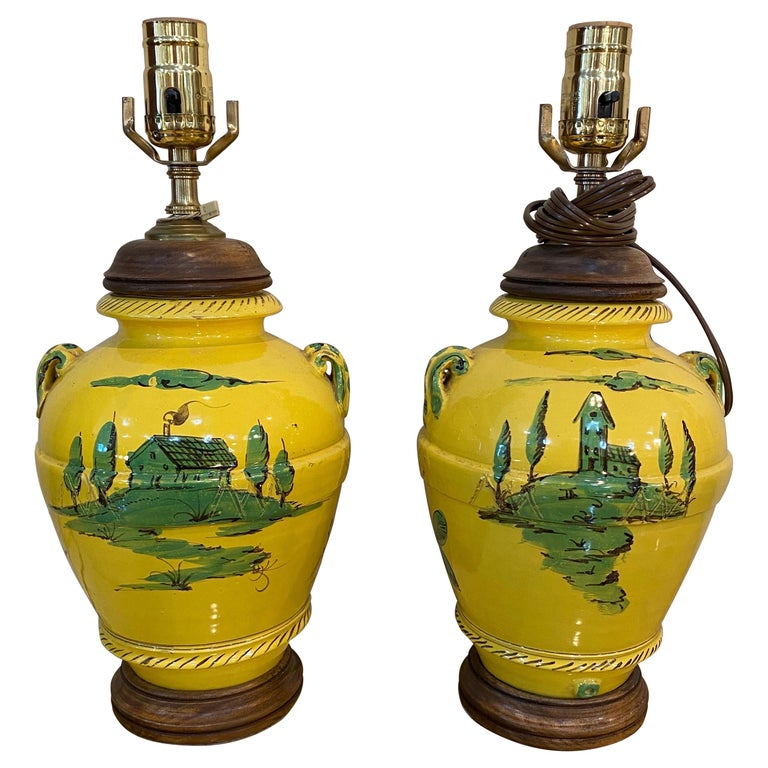 Pair of French Yellow and Green Vases Mounted as Lamps For Sale