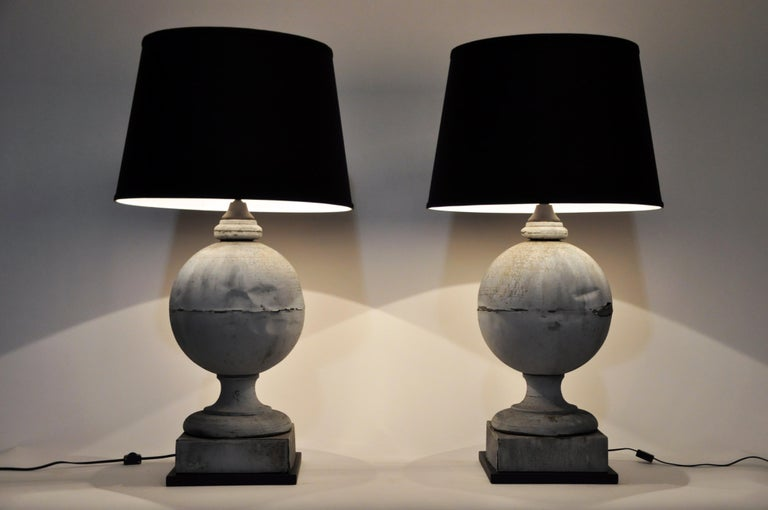 Pair of French Zinc Architectural Finial Lamps For Sale 12