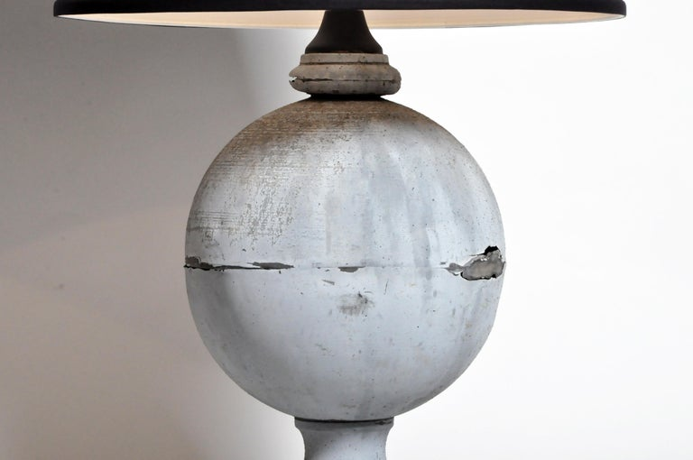 20th Century Pair of French Zinc Architectural Finial Lamps For Sale