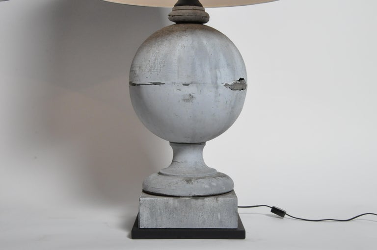 Pair of French Zinc Architectural Finial Lamps For Sale 3