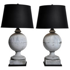 Pair of French Zinc Architectural Finial Lamps