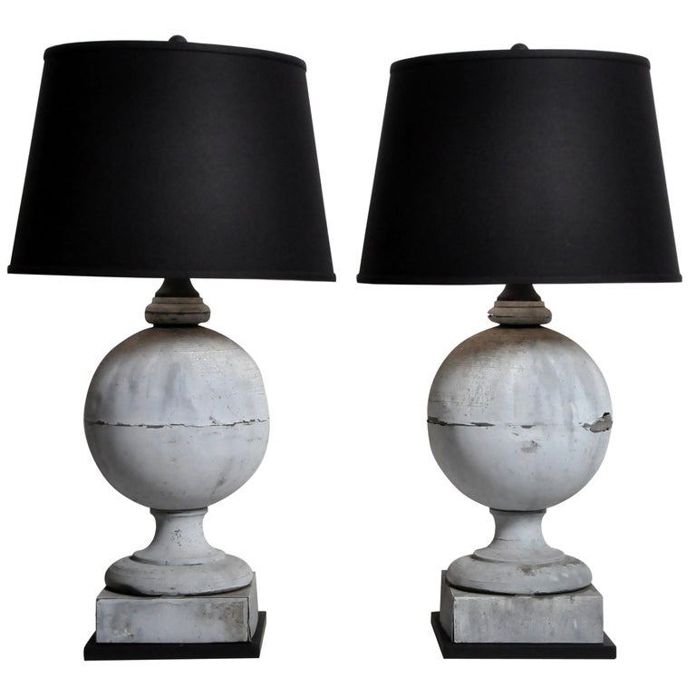 Pair of French Zinc Architectural Finial Lamps For Sale