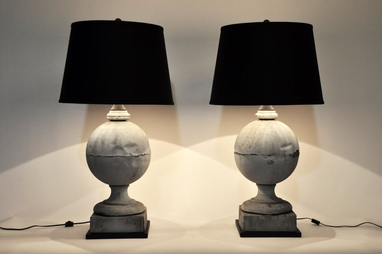 This pair of French architectural finial was from Paris, France, and was made from zinc, circa 1900. They have been converted to lamps and wired for use in the U.S. The price is for the pair.