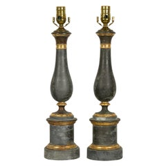Pair of French Zinc Baluster Table Lamps with Zinc Metal Accents, circa 1920