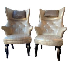 Pair of Frits Henningsen High Back Wing Chairs, Denmark, 1950