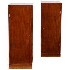 Pair of Frits Henningsen Mahogany Freestanding Pedestal Cabinets, circa 1940s