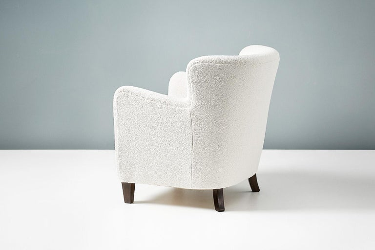 Pair of Fritz Hansen 1940s Boucle Armchairs For Sale 4