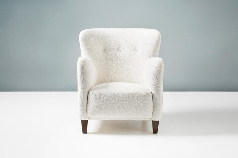 Scandinavian Modern Pair of Fritz Hansen 1940s Boucle Armchairs For Sale