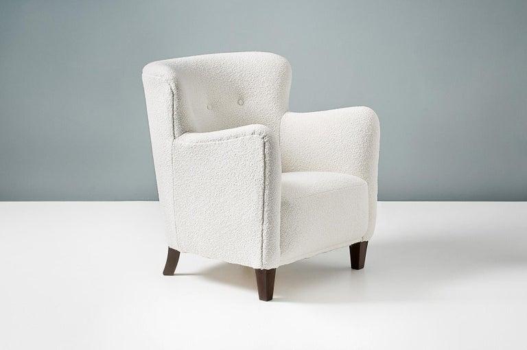 Bouclé Pair of Fritz Hansen 1940s Boucle Armchairs For Sale