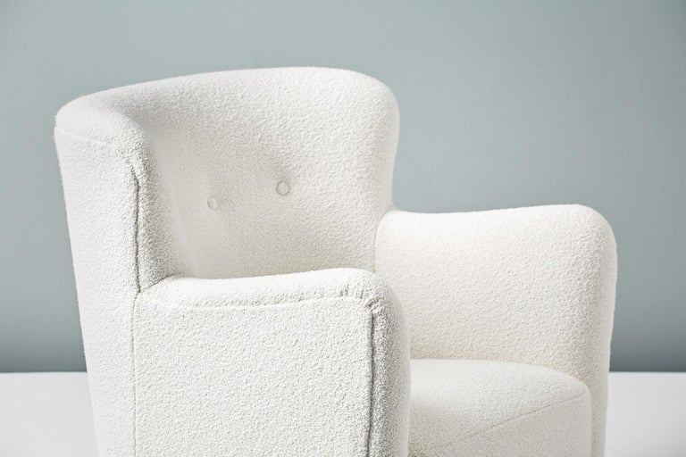 Pair of Fritz Hansen 1940s Boucle Armchairs For Sale 1