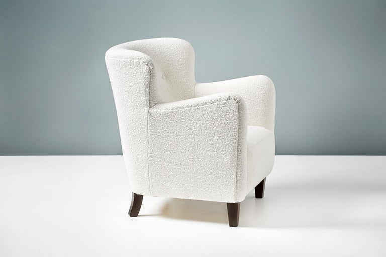 Pair of Fritz Hansen 1940s Boucle Armchairs For Sale 2