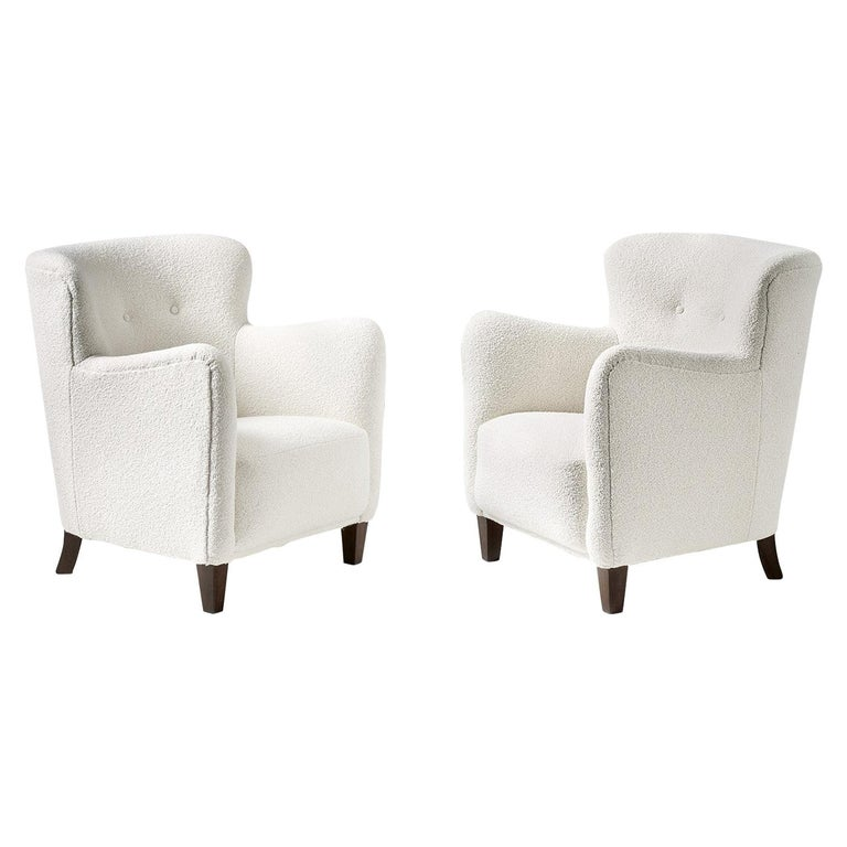 Pair of Fritz Hansen 1940s Boucle Armchairs For Sale