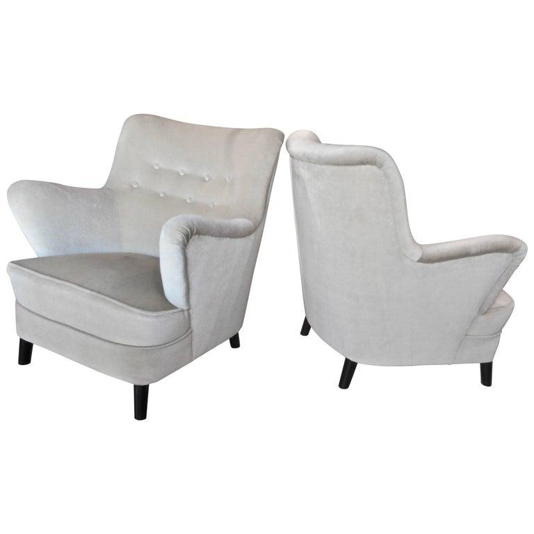 Pair of Fritz Hansen 1940s Easy Chairs, Denmark For Sale