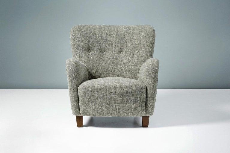 Mid-20th Century Pair of Fritz Hansen 1940s Linen Armchairs For Sale