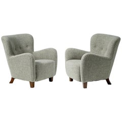 Pair of Fritz Hansen 1940s Linen Armchairs