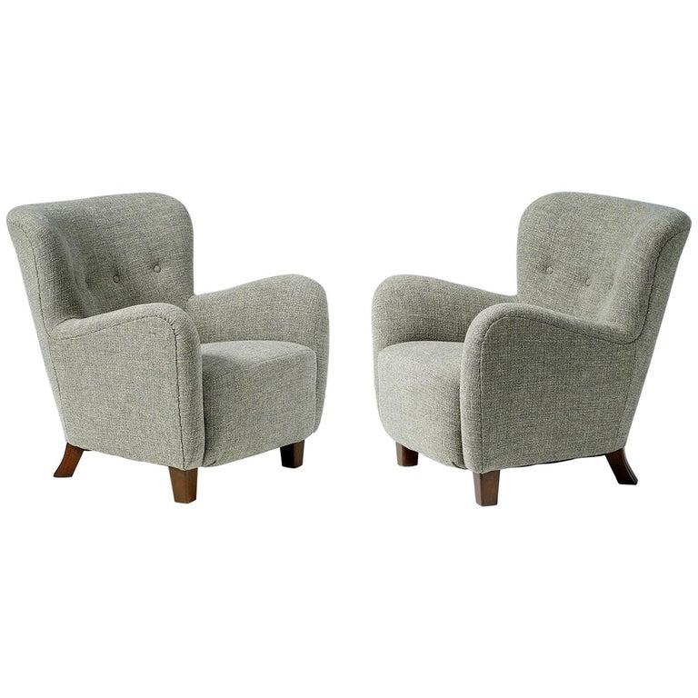 Pair of Fritz Hansen 1940s Linen Armchairs For Sale