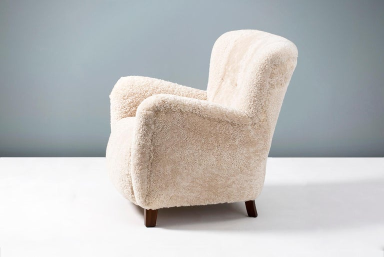 Scandinavian Modern Pair of Fritz Hansen 1940s Sheepskin Armchairs