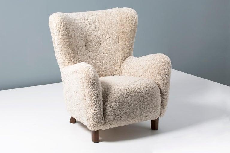 Scandinavian Modern Pair of Fritz Hansen 1940s Sheepskin Armchairs For Sale